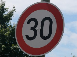 Road sign with the number 30